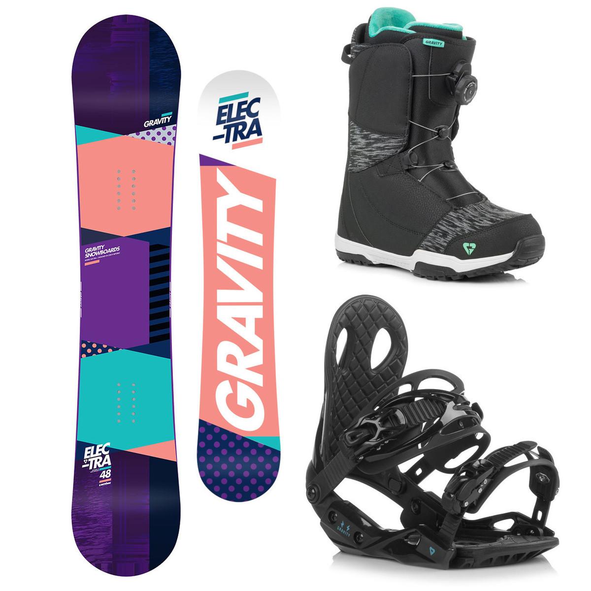 Snowboardový komplet Gravity Electra 18/19 M (EU 37-42) 144 Černá