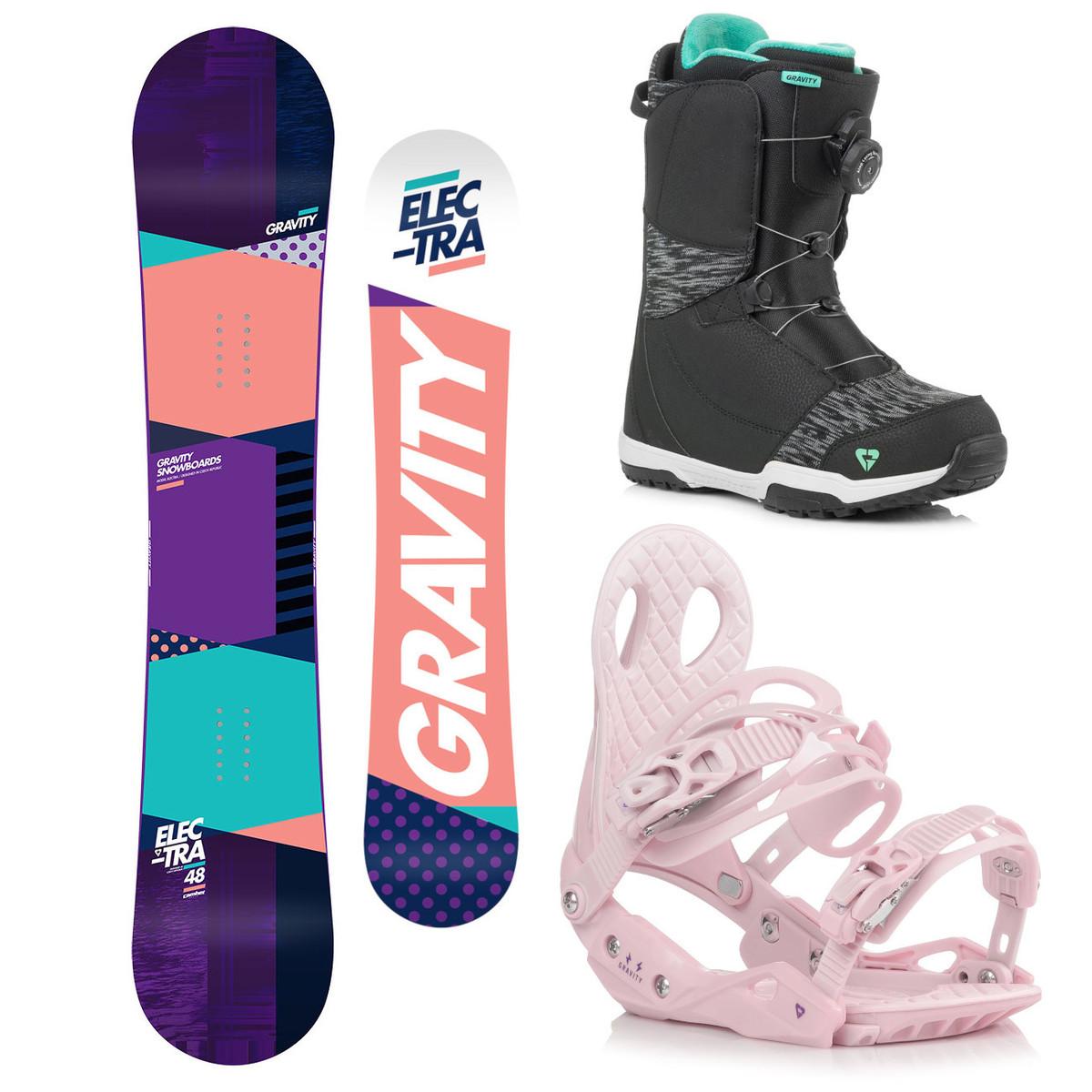 Snowboardový komplet Gravity Electra 18/19 M (EU 37-42) 144 Růžová